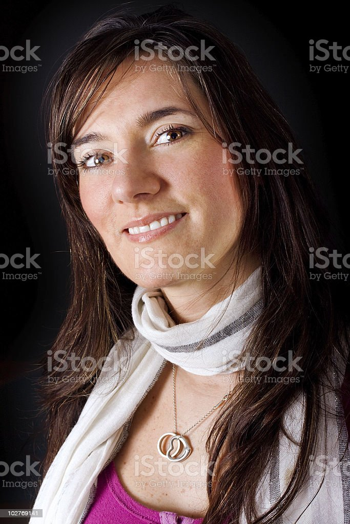Beautiful Colombian woman with a scarf stock photo