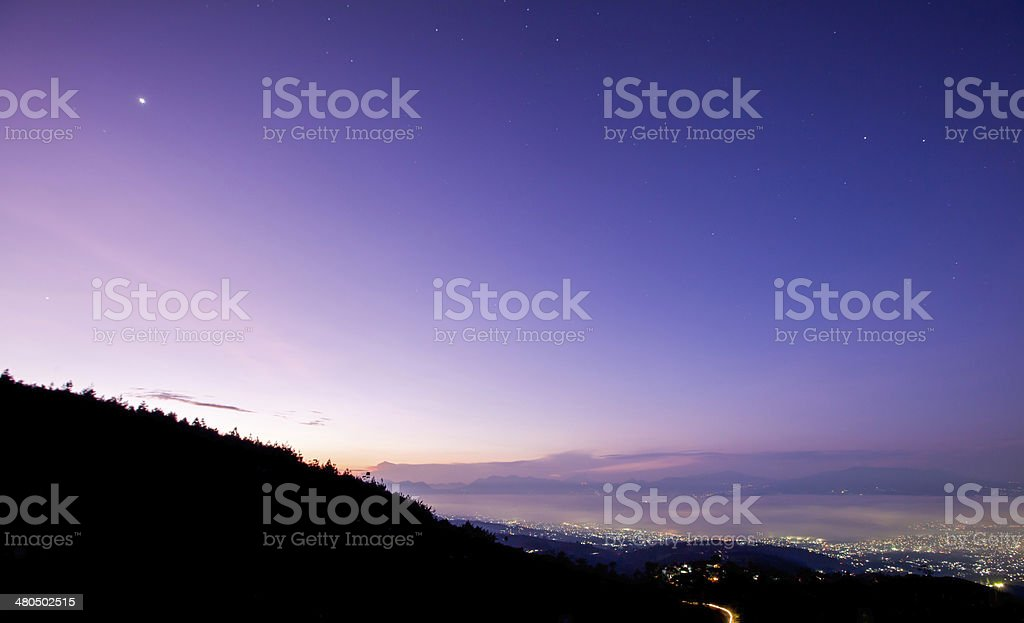 Beautiful color of Sunrise with hill stock photo