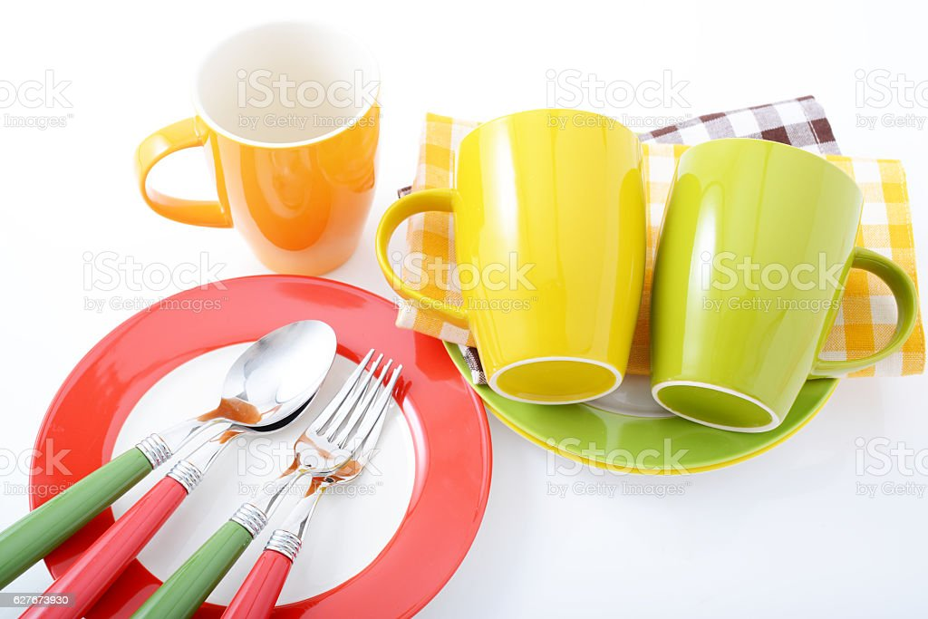 Beautiful colored tableware stock photo