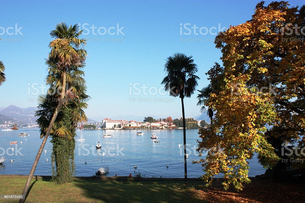 Beautiful colorful autumn at Lake Maggiore, Piedmont, Italy stock photo