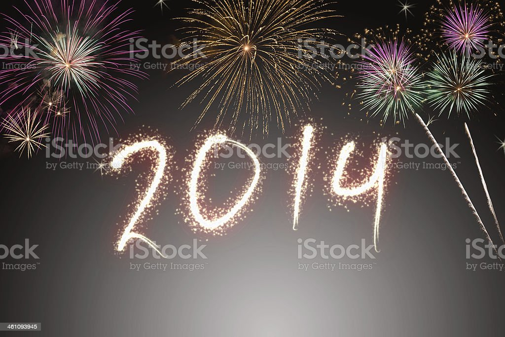 Beautiful colorful background for new years with fireworks stock photo