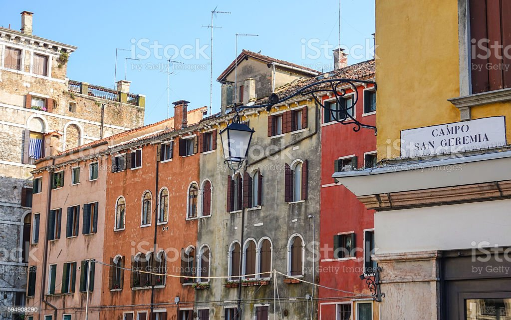 Beautiful colorful buildings in the city center of Verona Italy Lizenzfreies stock-foto