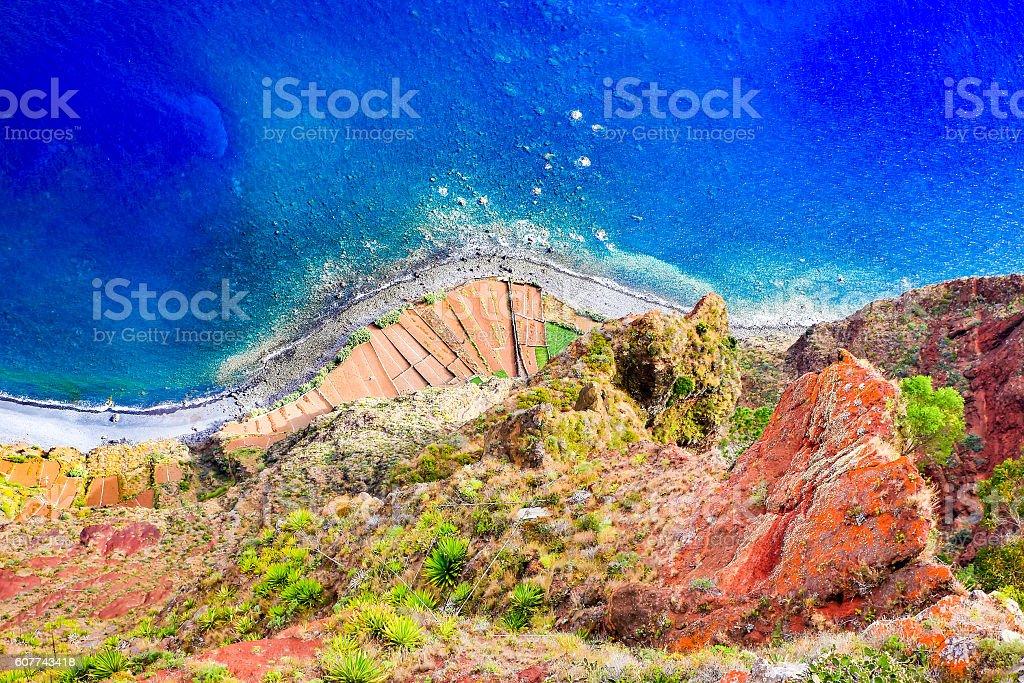 Beautiful colorful coastal landscape with blue sea stock photo