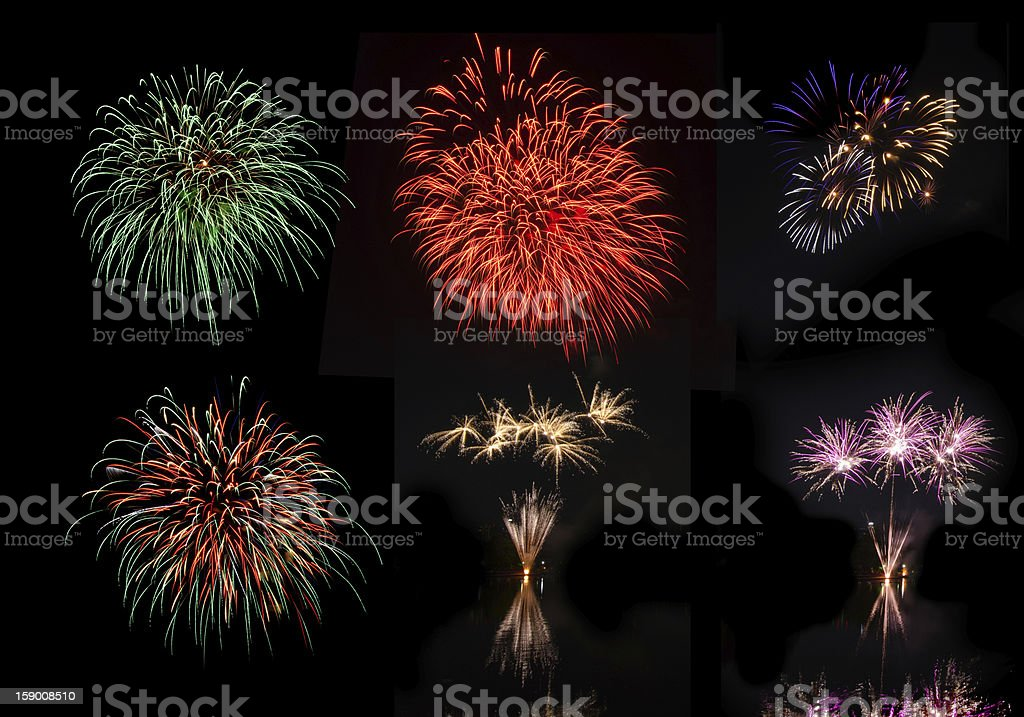 Beautiful colorful holiday fireworks on the black sky background royalty-free stock photo
