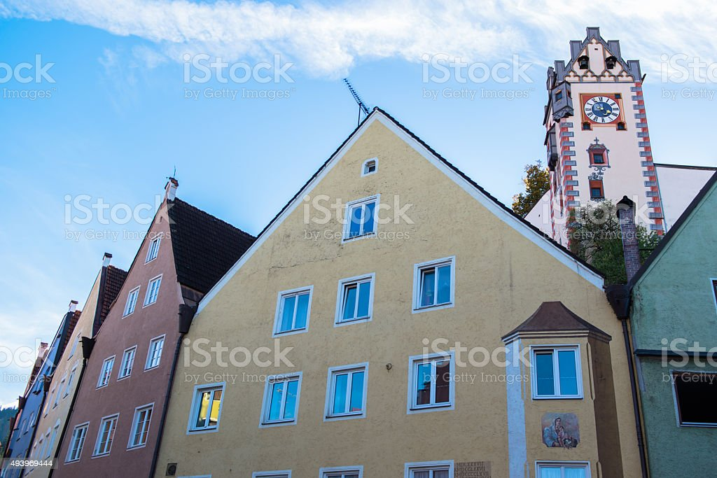 Beautiful colorful houses in Fussen, Bavaria, Germany stock photo