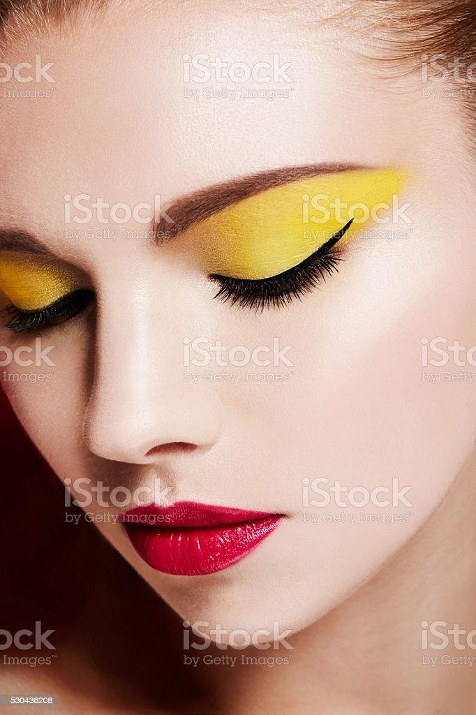 Beautiful colorful makeup. Perfect skin beauty image. stock photo