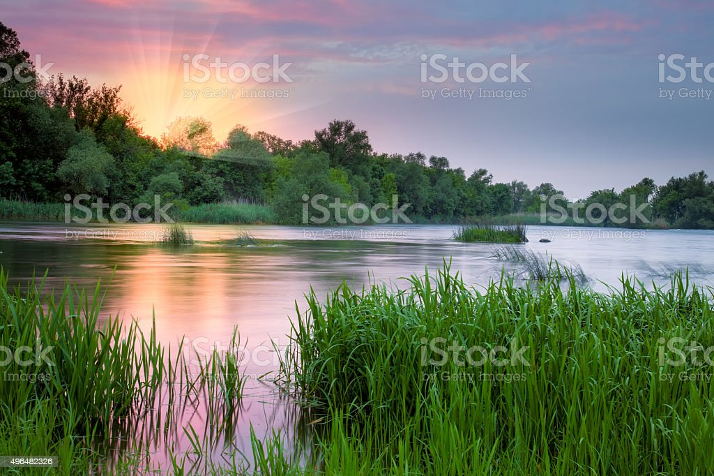 Beautiful colorful morning near the river stock photo