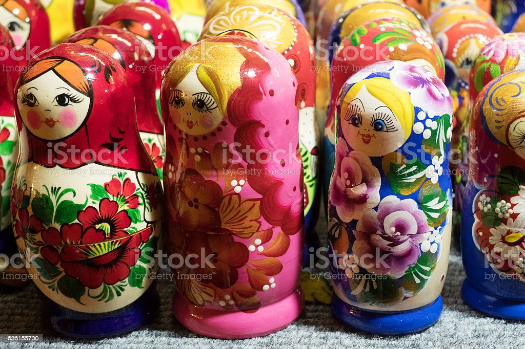 Beautiful Colorful Russian Nesting Dolls Matreshka At Market. Matrioshka Is stock photo
