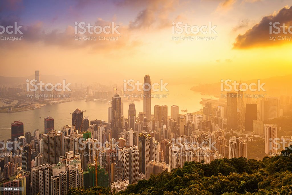 Beautiful colorful Sunrise over Victoria Harbor as viewed a top stock photo