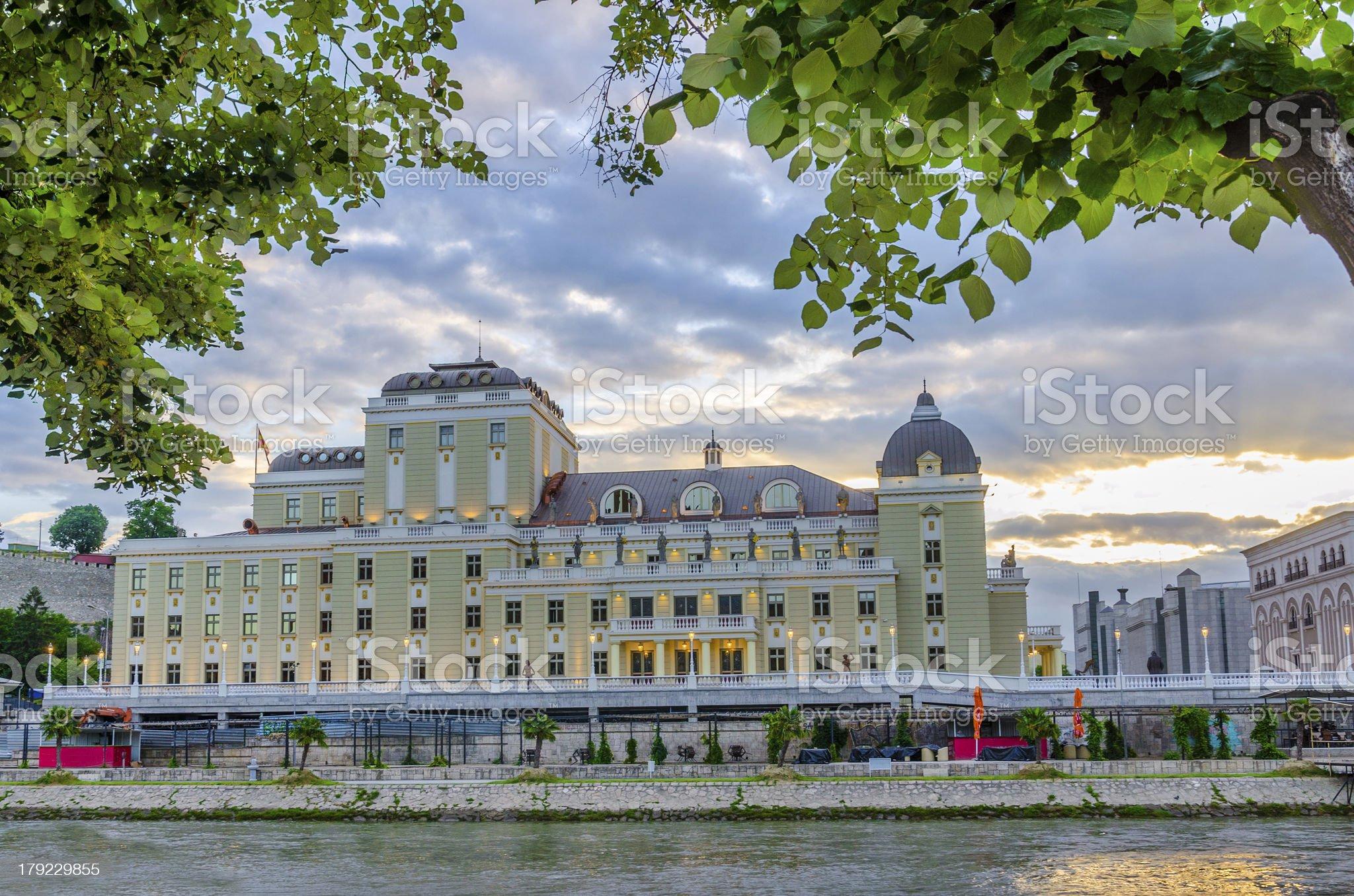 Beautiful colorful sunrise view of vmro museum, Skopje, Macedonia royalty-free stock photo
