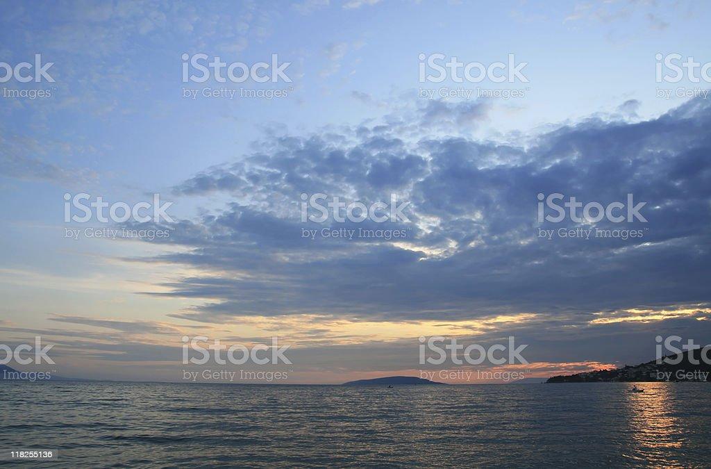Beautiful colorful sunset over the Adriatic Sea stock photo