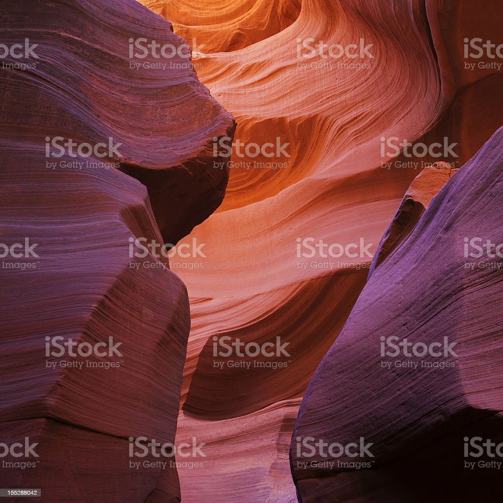 Beautiful colors in the Antelope Slot Canyon stock photo