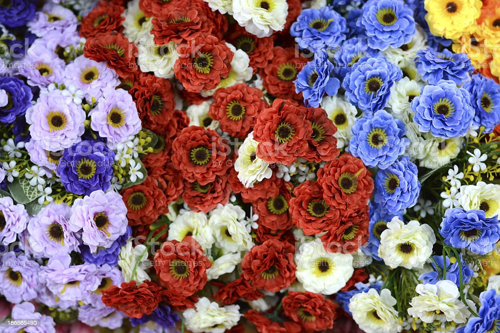 beautiful colors of plastic flowers royalty-free stock photo