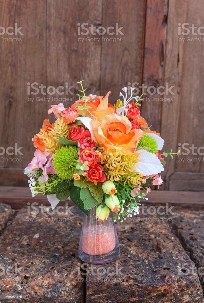 Beautiful colourful flower vase royalty-free stock photo
