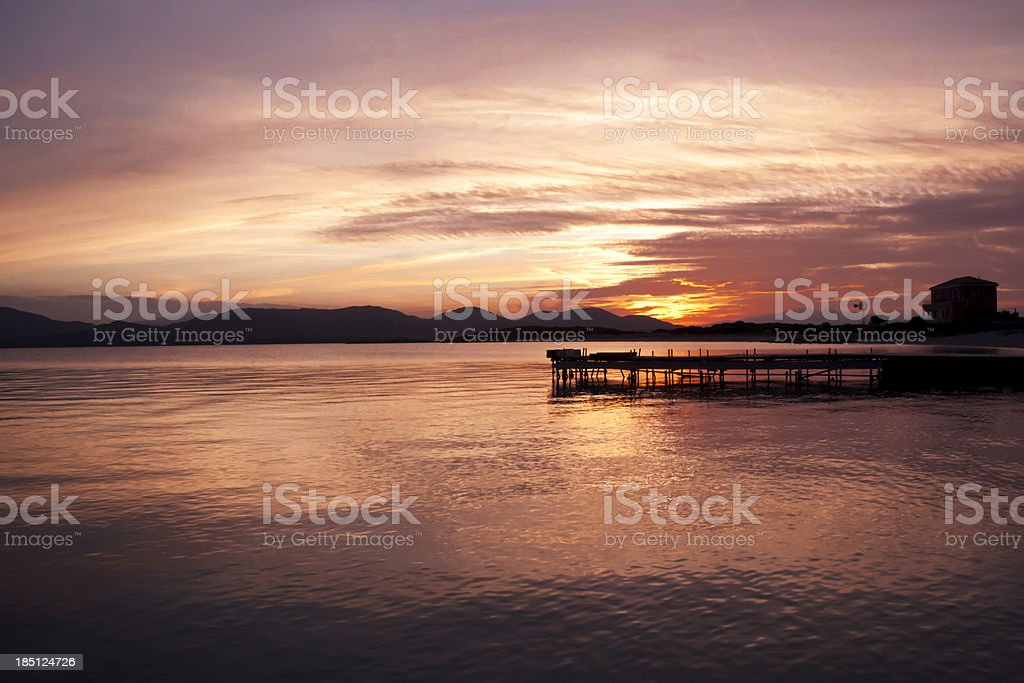 Beautiful Colourful Sunset In Sardinia Italy stock photo