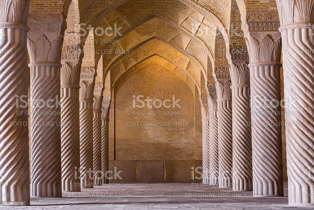 Beautiful columns in Vakil Mosque, Shiraz, Iran stock photo