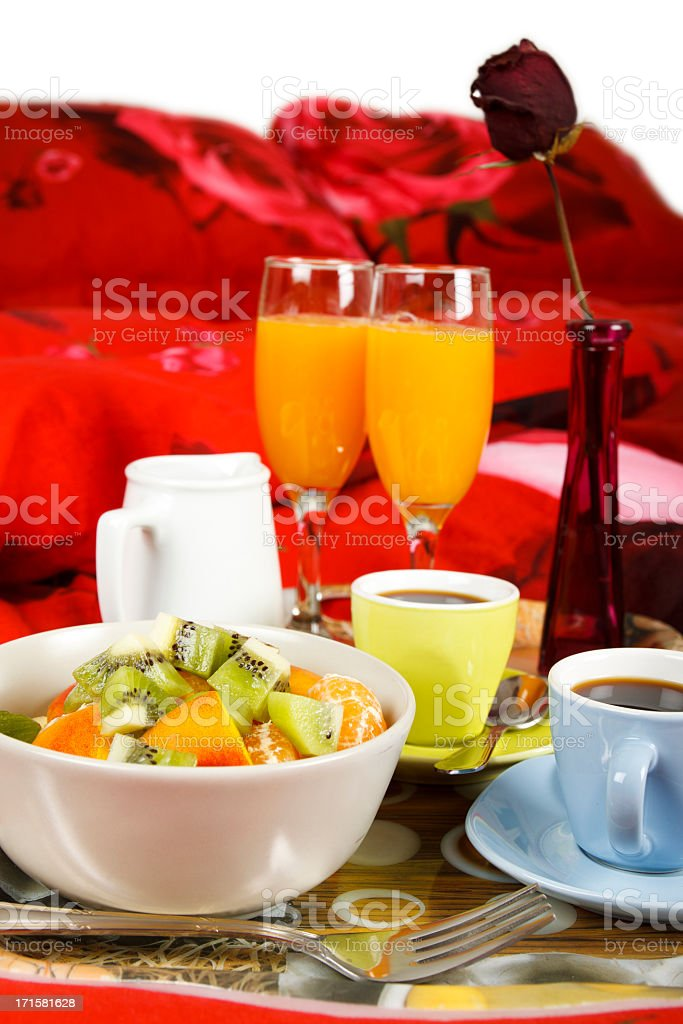 Beautiful Composition of a Breakfast in Bed stock photo