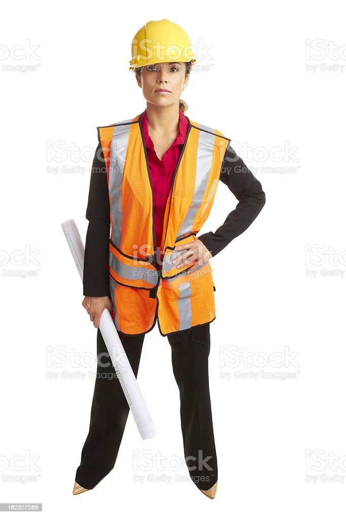 Beautiful confident female architech with business plans royalty-free stock photo