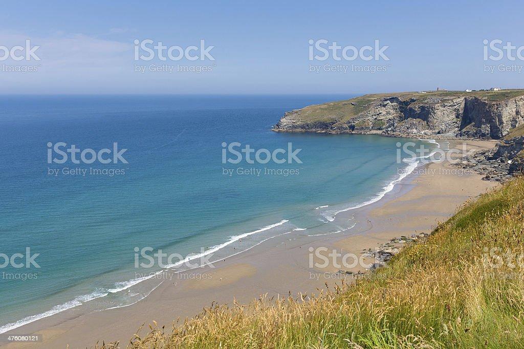 Beautiful Cornish beach with blue sea and sky Cornwall stock photo
