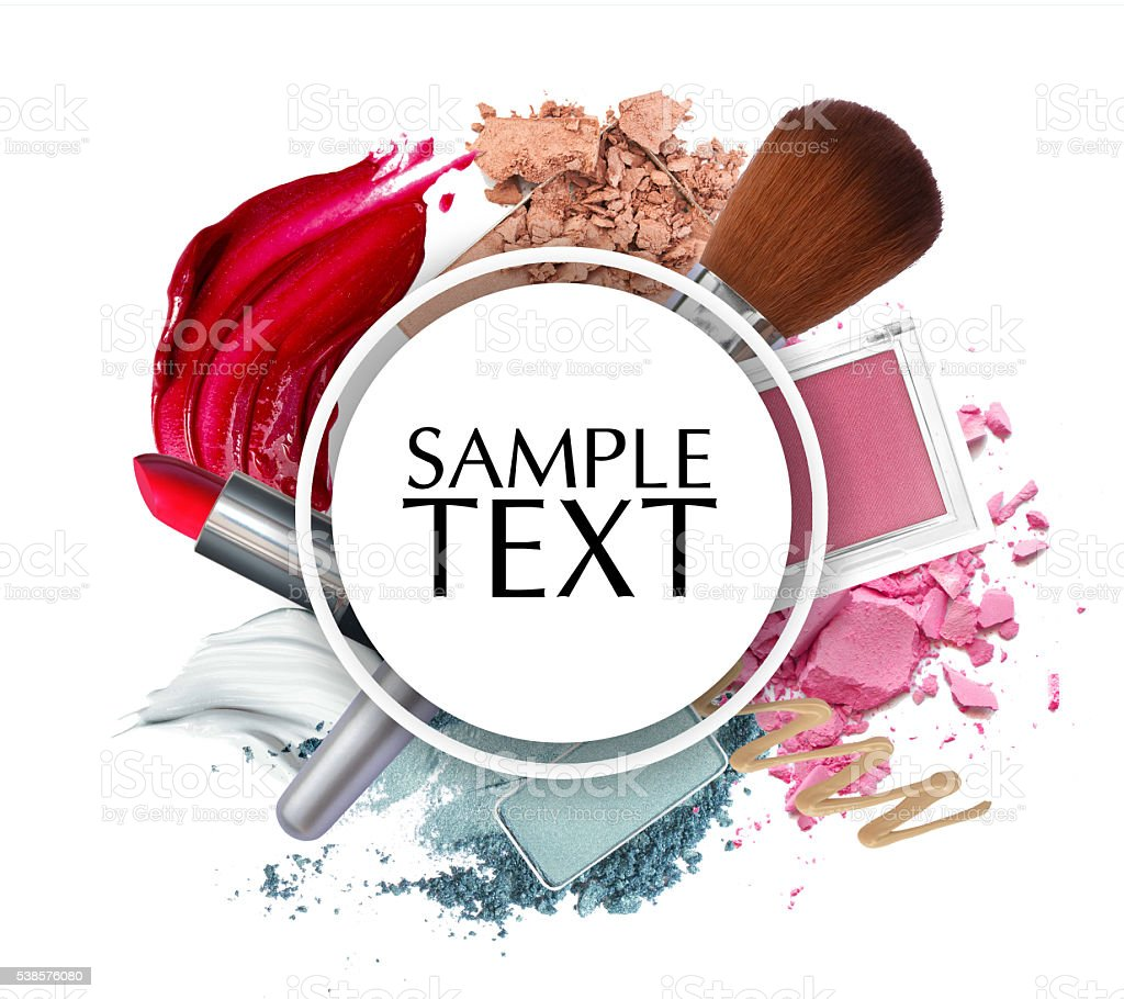 beautiful cosmetic promotion circle frame stock photo