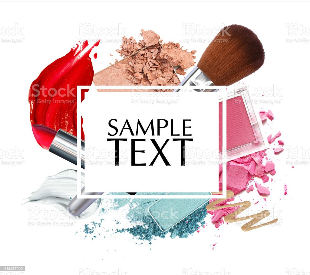 beautiful cosmetic promotion square frame stock photo