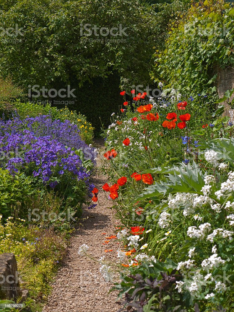 Beautiful Cottage Garden Path royalty-free stock photo