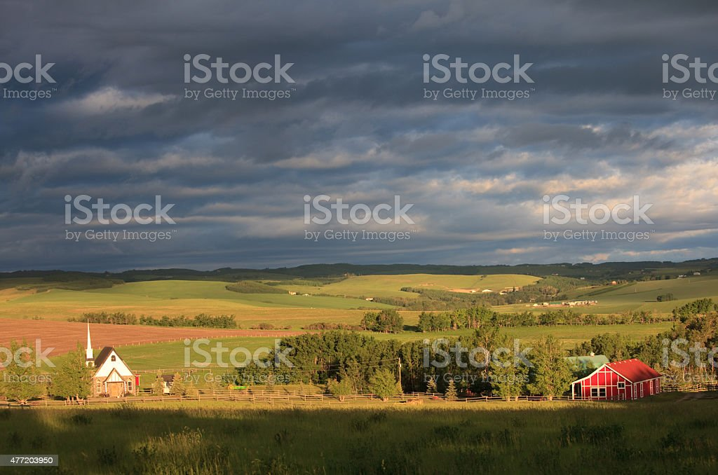 Beautiful Country Church in Idyllic Rural Setting With Rolling Hills stock photo