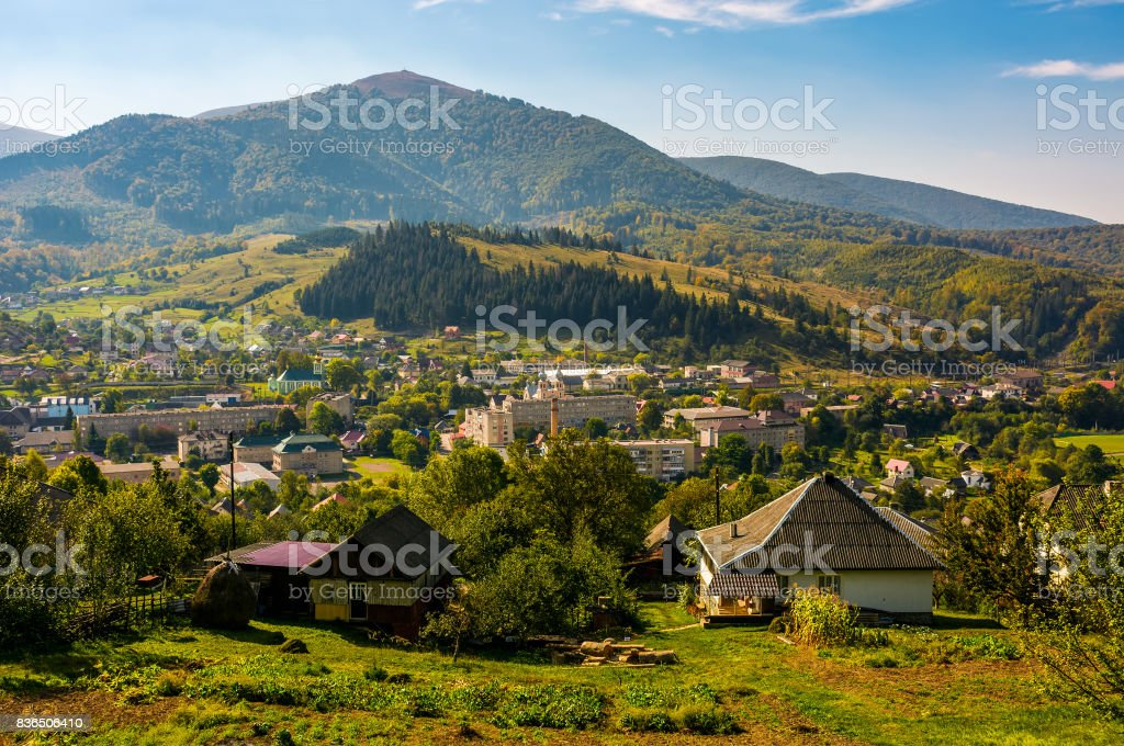 beautiful countryside in transcarpathian mountains stock photo
