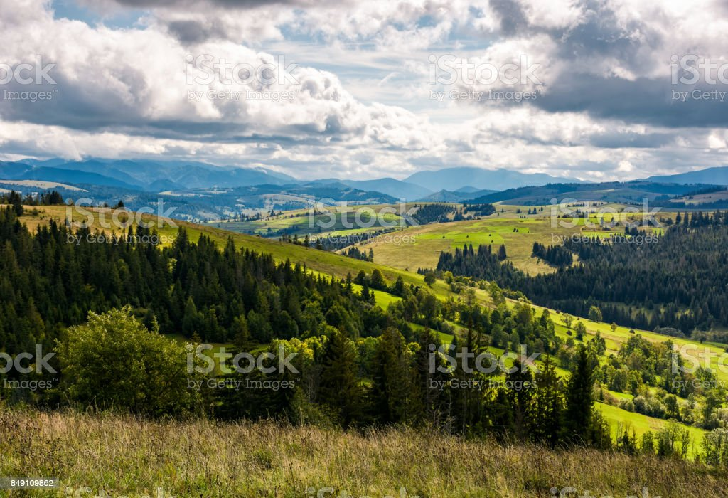 beautiful countryside landscape in mountains stock photo
