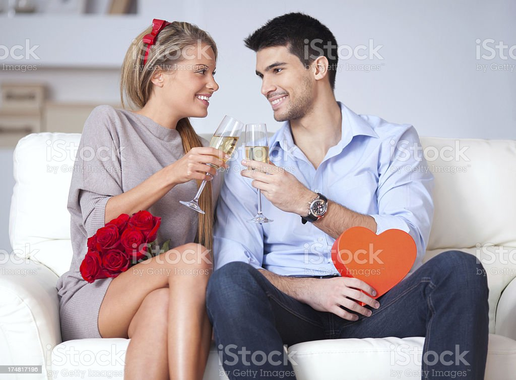 Beautiful couple date royalty-free stock photo