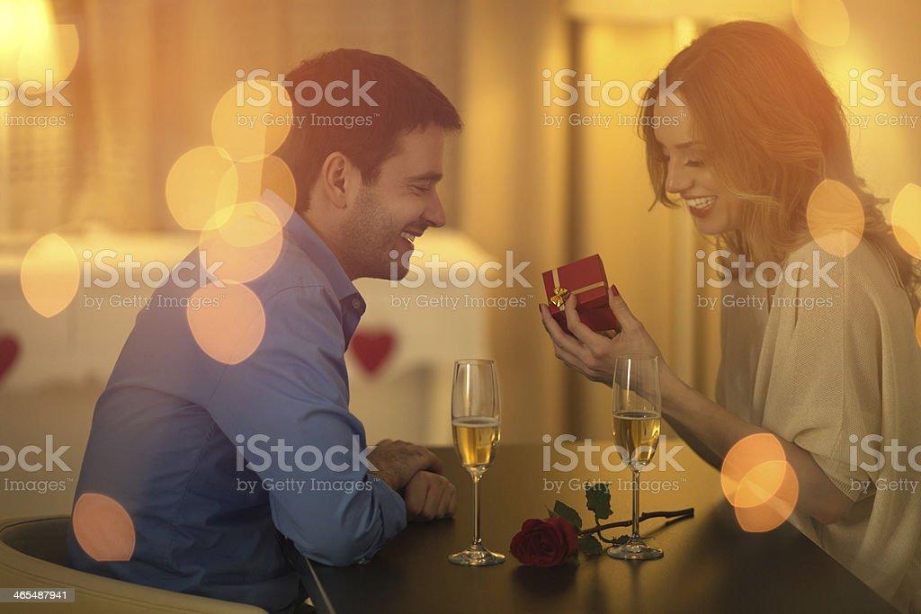 Beautiful couple date. stock photo