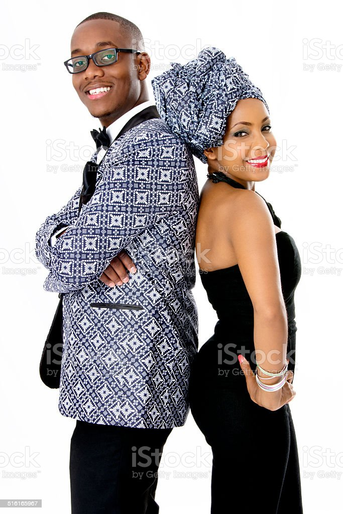Beautiful Couple Dressed in Traditional African Clothes stock photo