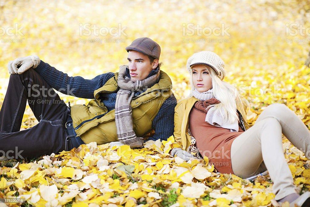 Beautiful couple enjoying in autumn day royalty-free stock photo