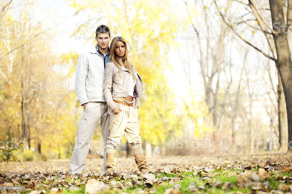 Beautiful couple enjoying in the autumn. royalty-free stock photo