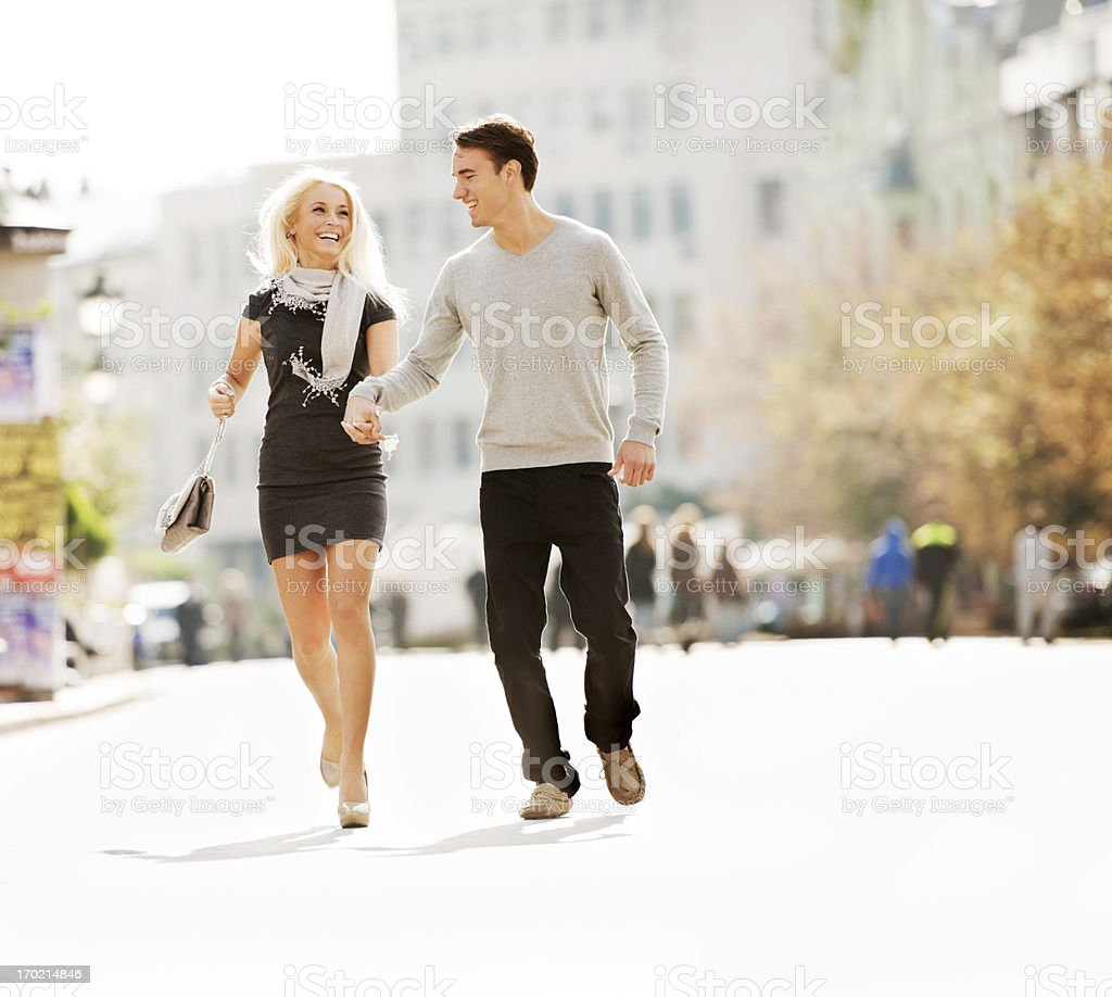Beautiful couple enjoying in the city. royalty-free stock photo