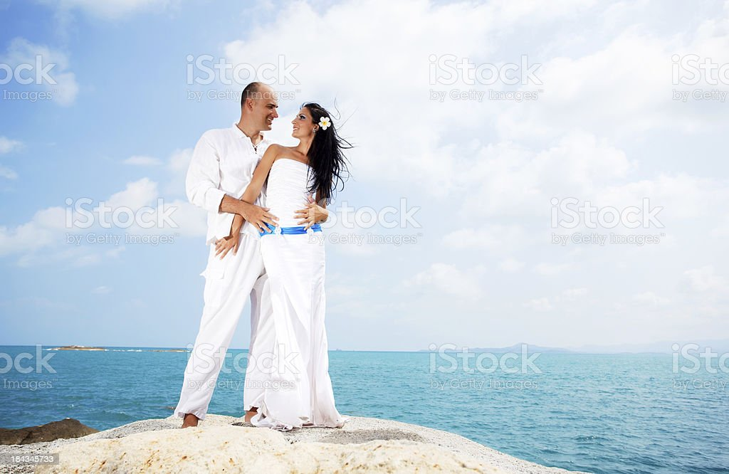 Beautiful couple enjoying in the sea. royalty-free stock photo