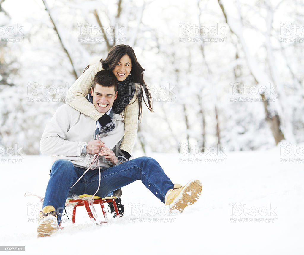 Beautiful couple enjoying in winter. royalty-free stock photo