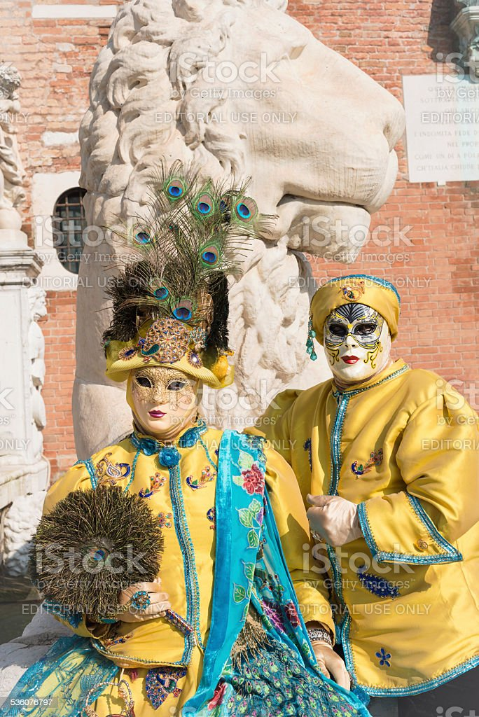 Beautiful Couple in Costumes at Arsenale, Venice, Italy, Europe stock photo