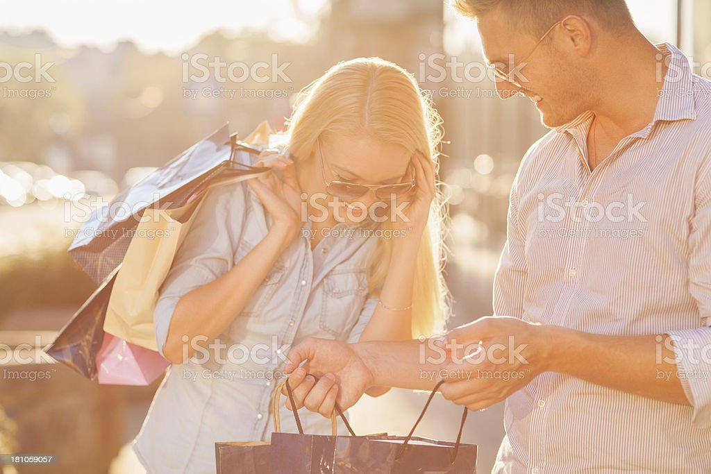 Beautiful couple in shopping royalty-free stock photo