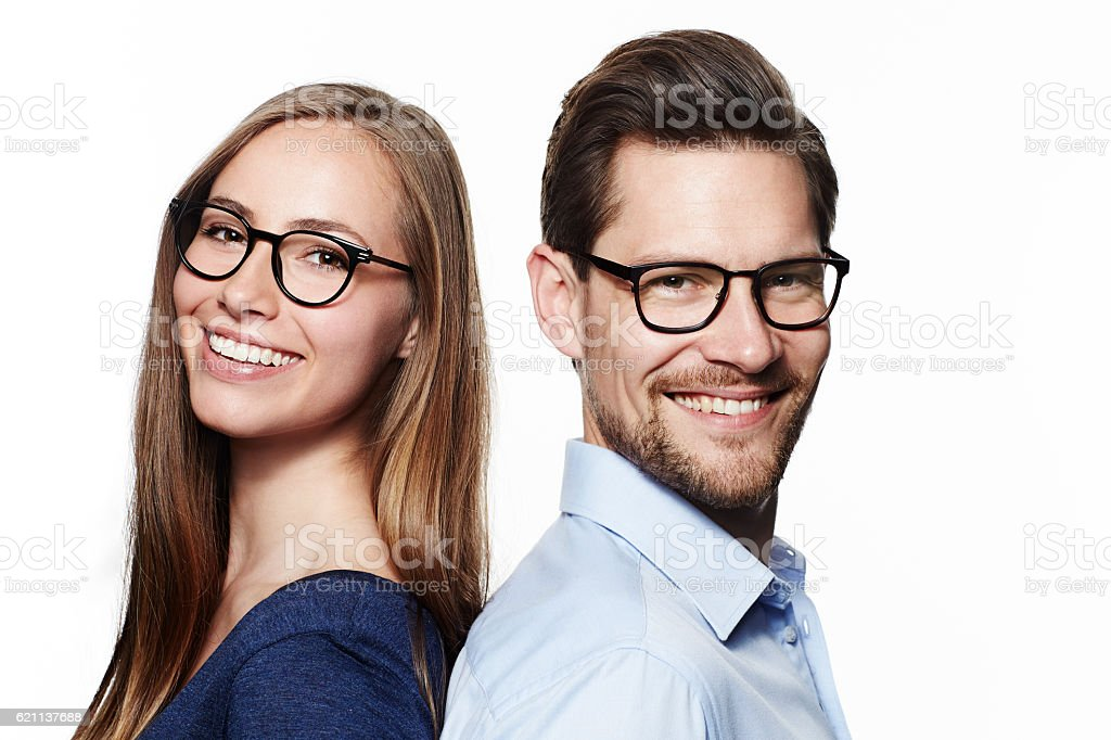 Beautiful couple in spectacles, portrait stock photo