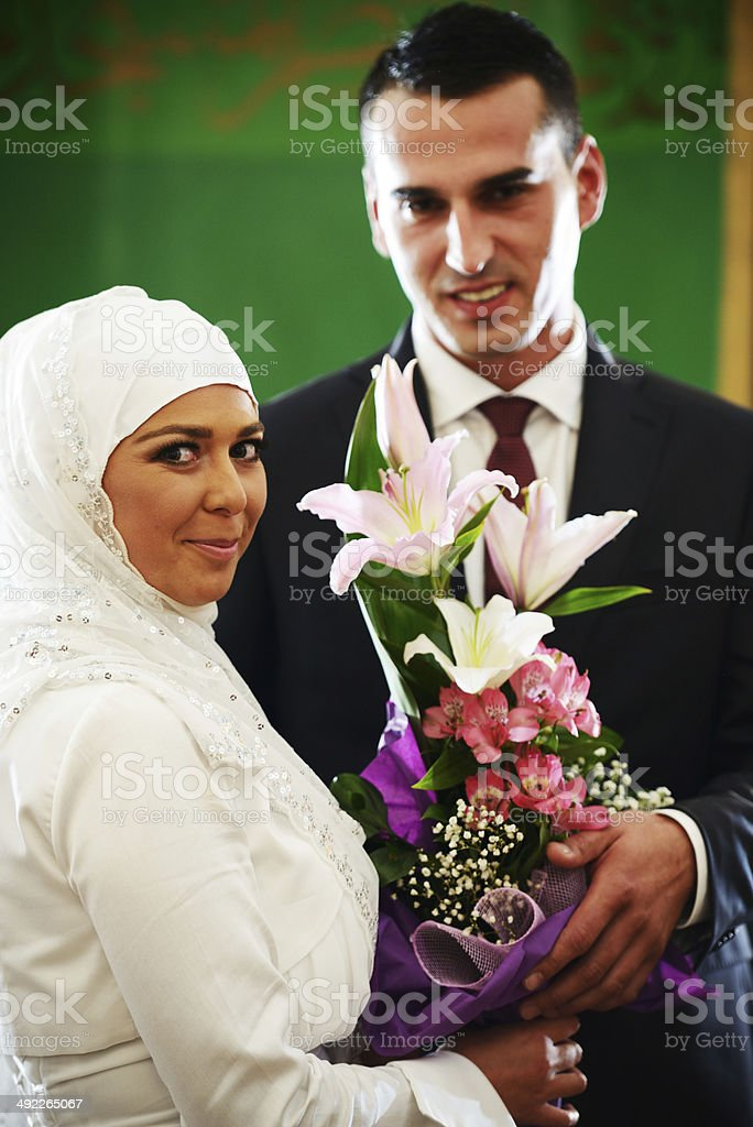 Beautiful couple just married stock photo