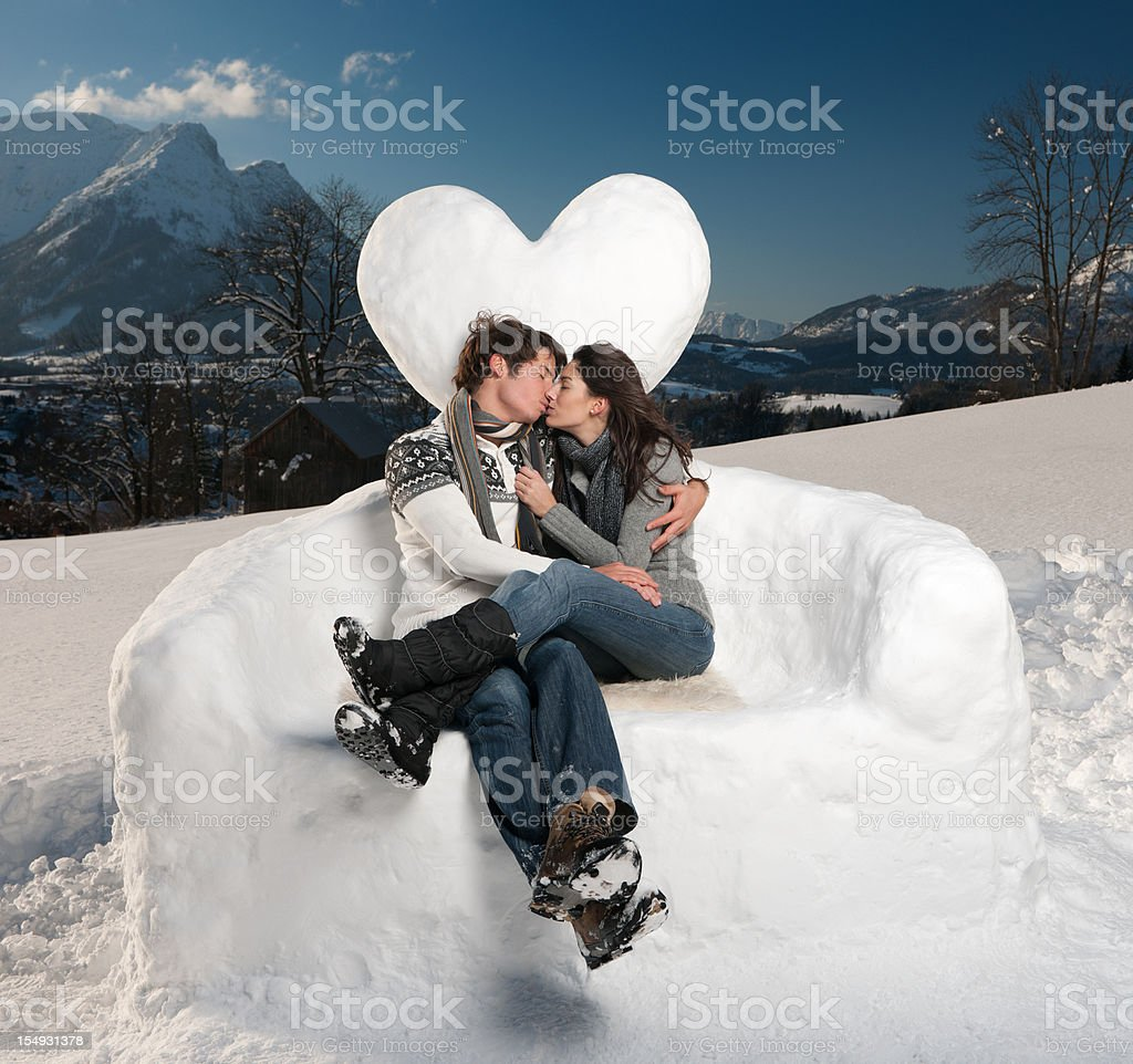 Beautiful Couple Kissing Outdoors royalty-free stock photo