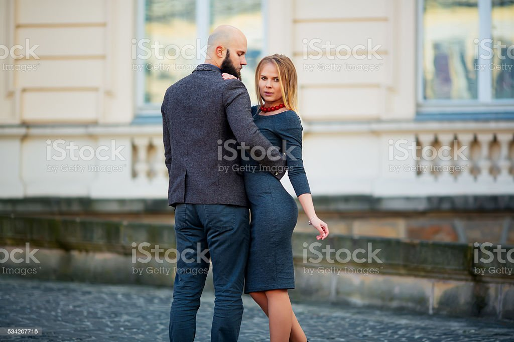 beautiful couple, long beard hug in love love each other royalty-free stock photo