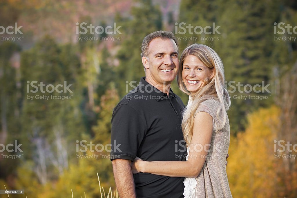 Beautiful Couple Outdoors Portrait stock photo