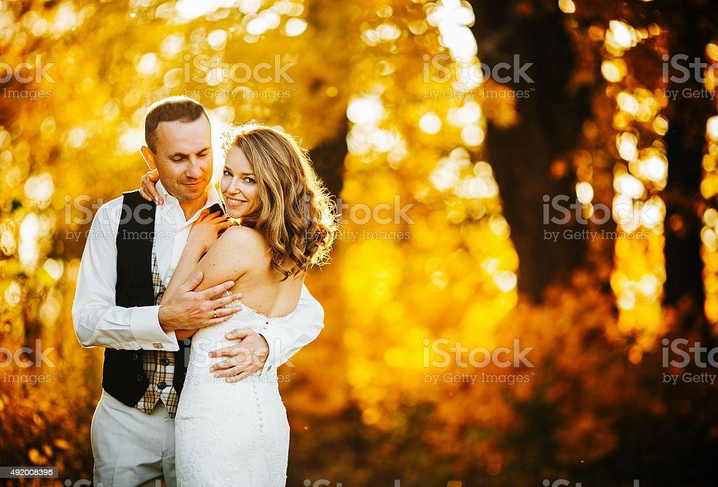 beautiful couple posing stock photo