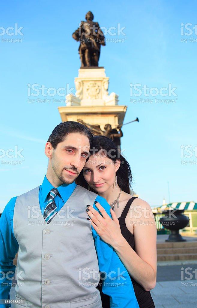 Beautiful Couple Statue on Background royalty-free stock photo