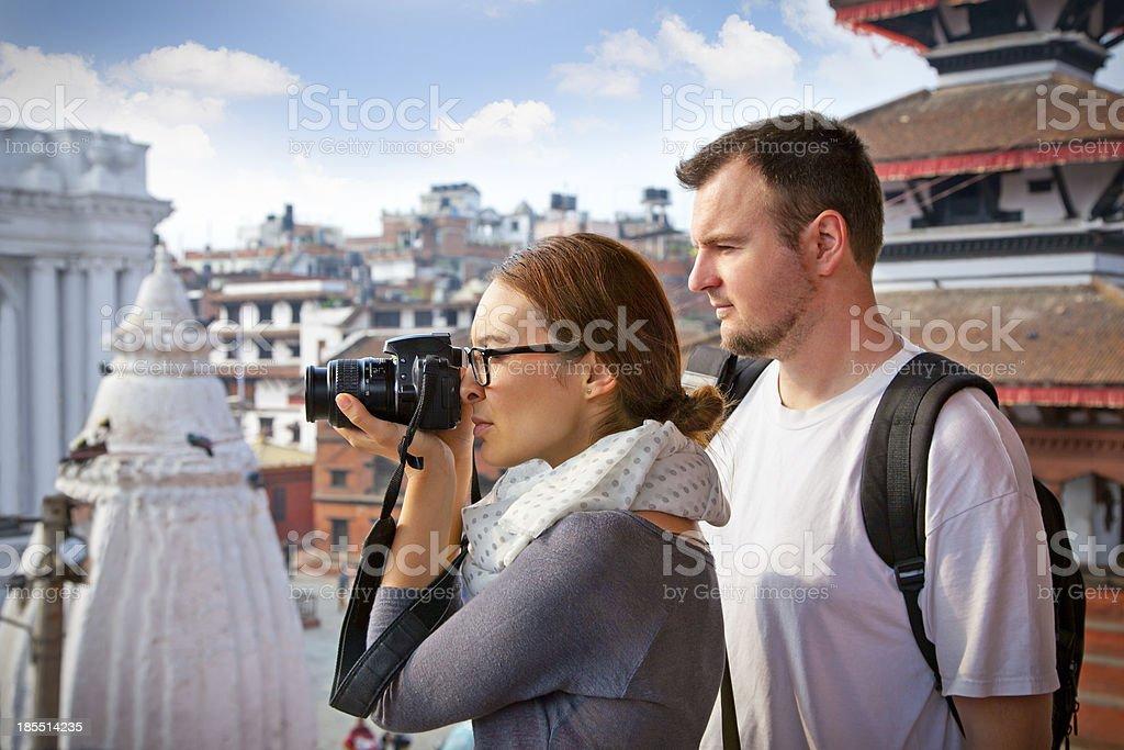 Beautiful couple travelling in Kathmandu, Nepal. stock photo