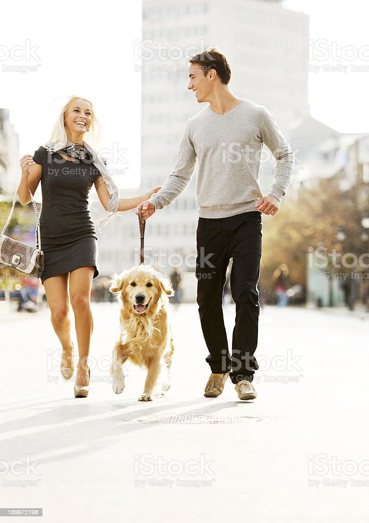 Beautiful couple walking the dog. royalty-free stock photo