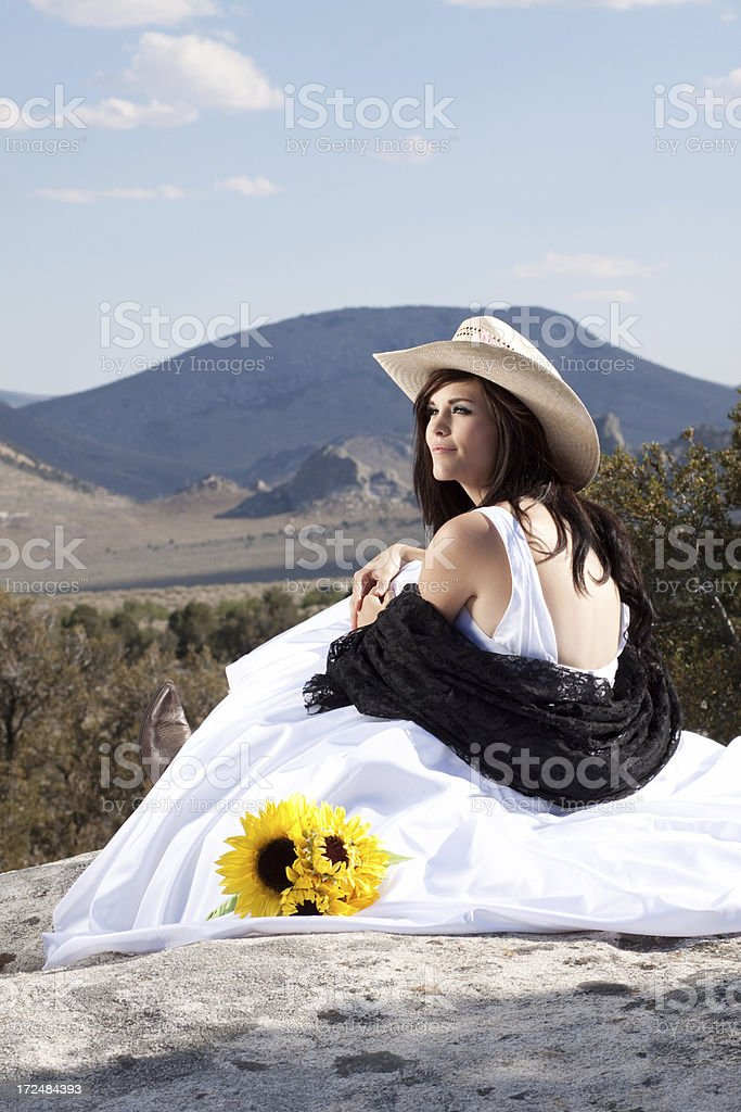 Beautiful Cowgirl Bride in the Mountains royalty-free stock photo