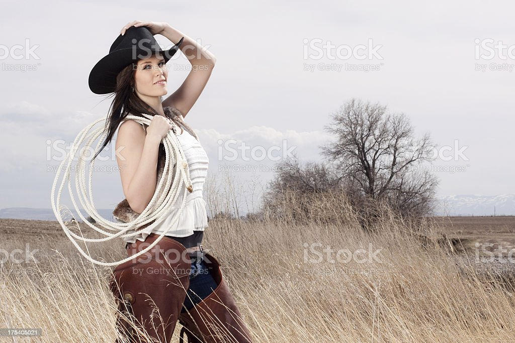 Beautiful Cowgirl in the Country royalty-free stock photo
